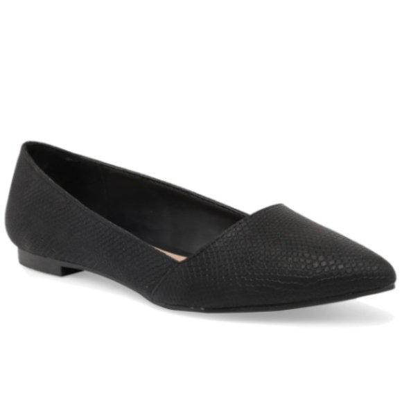 Vegan Black Leather Pointy Toe Flats